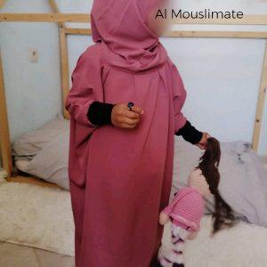 "Abaya avec hijab intégré ""Binti"" Al Mouslimate Vieux Rose"