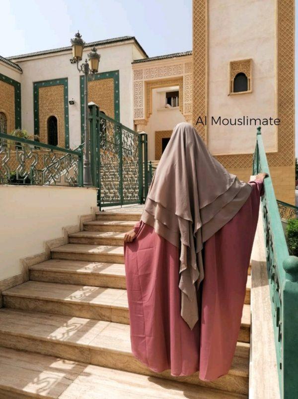 Abaya Manches Droites Vieux Rose Al Mouslimate