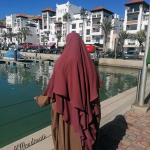 Khimar Flowy 2 voiles Mousseline Dusty Rose Al Mouslimate