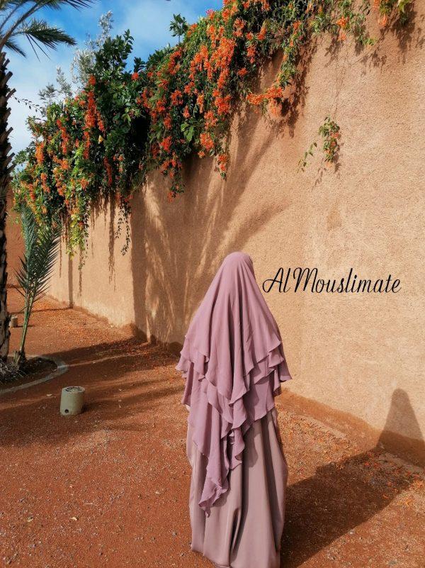 Khimar Flowy 3 voiles Mousseline Rose Nude Al Mouslimate