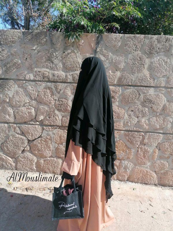 Khimar Flowy 3 voiles Mousseline Noir Intense Al Mouslimate
