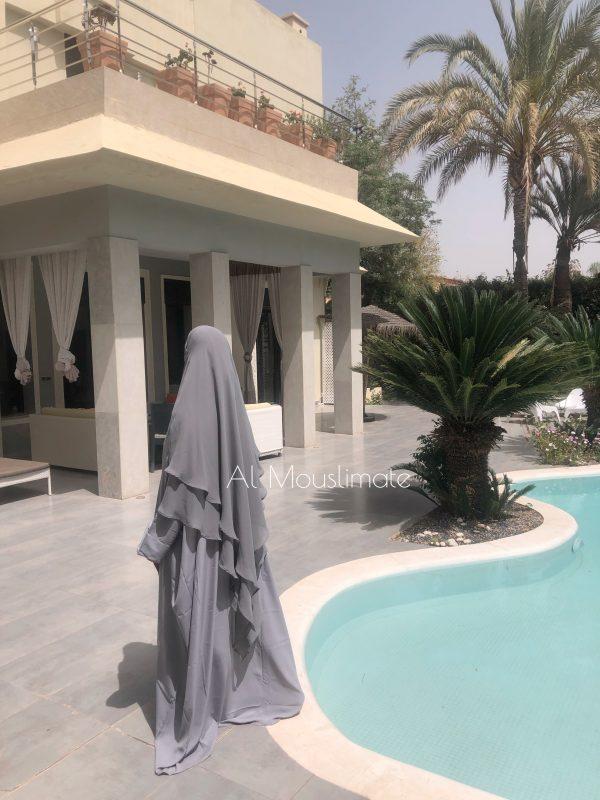Abaya Manches Droites Gris perle Al Mouslimate