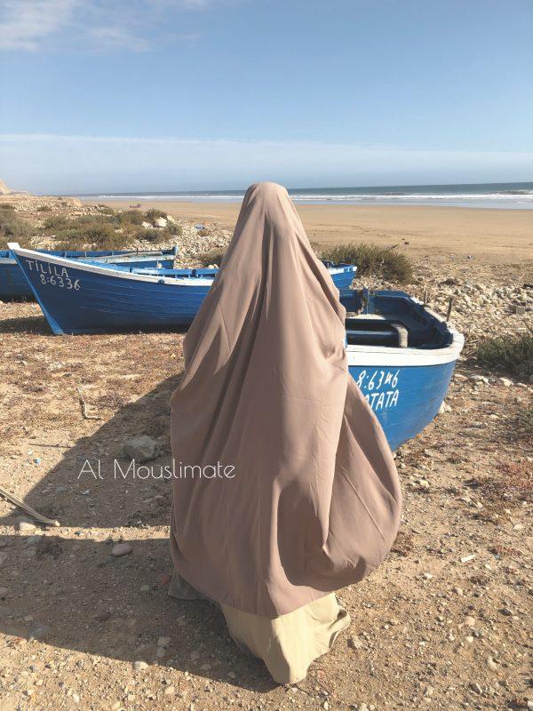 Khimar arrondi Beige sable 2 en 1 XtraLarge Al Mouslimate