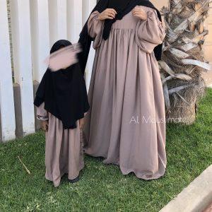 Abaya precious manches boufantes Nude Al mouslimate