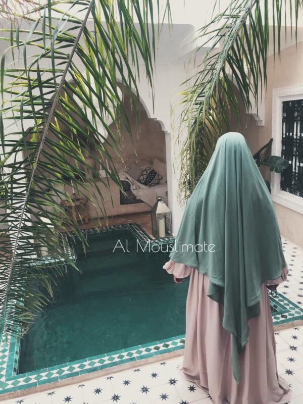 Khimar XtraLong 2 en 1 Vert Amande Al Mouslimate
