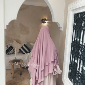 Khimar 2 voiles Mousseline Rose Nude Al Mouslimate