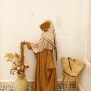 Abaya Manches Droites Miel Al Mouslimate